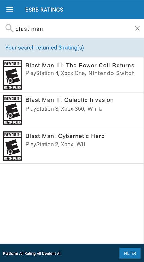 Blast man search screenshot